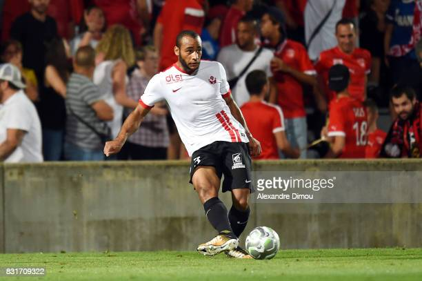 Tobias Badila Kouendolo of Nancy during the Ligue 2 match between Nimes Olympique and As Nancy Lorraine at Stade des Costieres on August 14 2017 in...