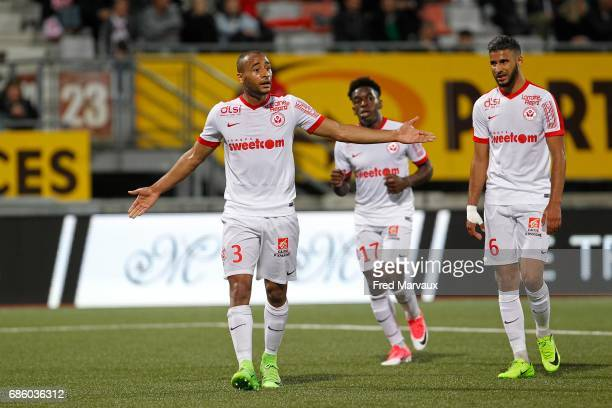 Tobias Badila of Nancy and Faitout Maouassa of Nancy and Youssef Ait Bennasser of Nancy during the Ligue 1 match between AS NancyLorraine and AS...