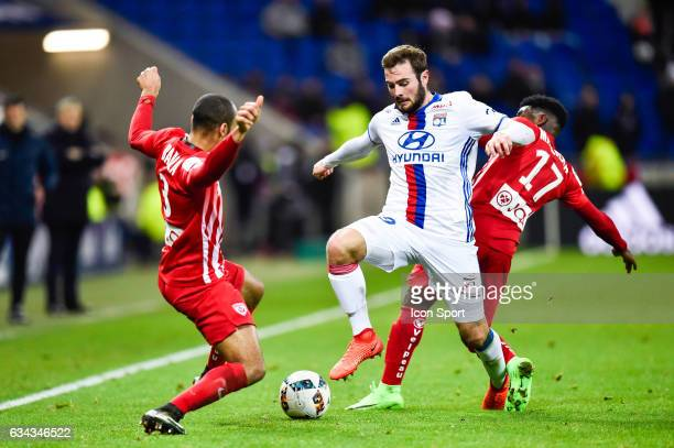 Tobias Badila of Nancy Lucas Tousard of Lyon and Faitout Maouassa of Nancy during the French Ligue 1 match between Lyon and Nancy at Stade de Gerland...