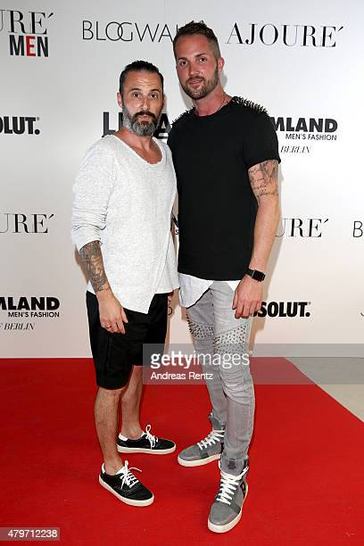 Tobias Bojko and Daniel Heilig attend the AJOURE Berlin Fashion Week Opening Party at LNFA Space Bikini Berlin on July 6 2015 in Berlin Germany