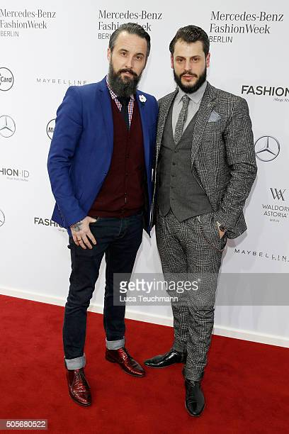 Tobias Bojko and Manuel Cortez attend the Marc Cain show during the MercedesBenz Fashion Week Berlin Autumn/Winter 2016 at Brandenburg Gate on...