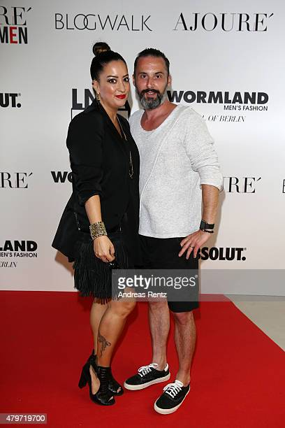 Tobias Bojko and Miyabi Kawai attend the AJOURE Berlin Fashion Week Opening Party at LNFA Space Bikini Berlin on July 6 2015 in Berlin Germany
