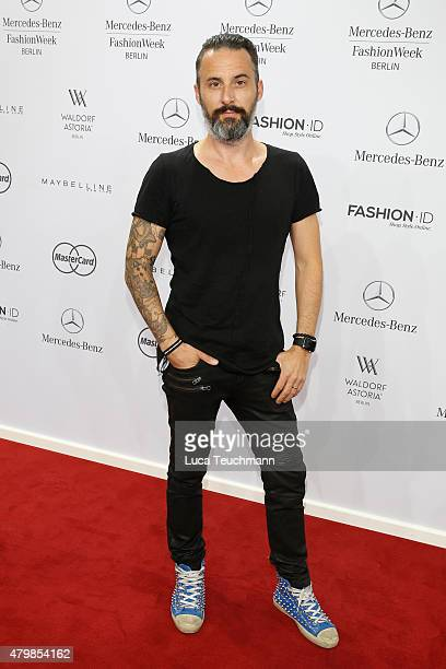 Tobias Bojko attends the Anja Gockel show during the MercedesBenz Fashion Week Berlin Spring/Summer 2016 at Brandenburg Gate on July 8 2015 in Berlin...
