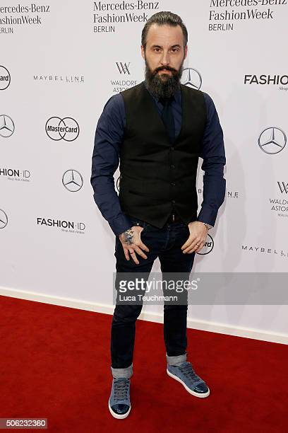 Tobias Bojko attends the Emre Erdemoglu show during the MercedesBenz Fashion Week Berlin Autumn/Winter 2016 at Brandenburg Gate on January 22 2016 in...