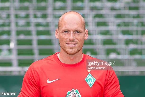 Tobias Duffner poses during the official team presentation of Werder Bremen II at Weserstadium on July 10 2015 in Bremen Germany