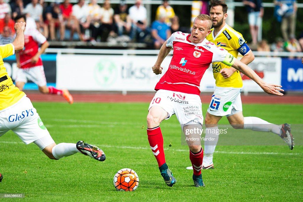 Tobias Eriksson of Kalmar FF in action during the Allsvenskan match between Falkenbergs FF andKalmar FF at Falkenbergs IP on May 29, 2016 in Falkenberg, Sweden.