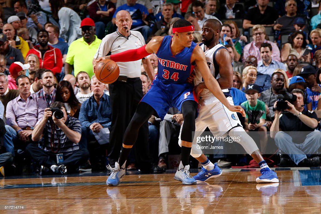 Tobias Harris #34 of the Detroit Pistons dribbles the ball against the Dallas Mavericks on March 9, 2016 at the American Airlines Center in Dallas, Texas.