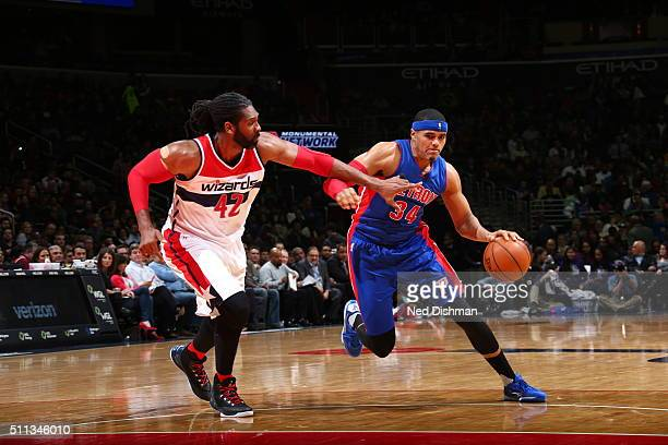 Tobias Harris of the Detroit Pistons drives to the basket against Nene Hilario of the Washington Wizards on February 19 2016 at Verizon Center in...