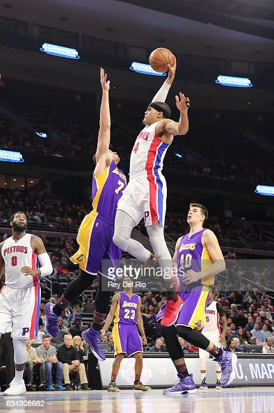 Tobias Harris of the Detroit Pistons drives to the basket against Larry Nance Jr #7 of the Los Angeles Lakers at the Palace of Auburn Hills on...