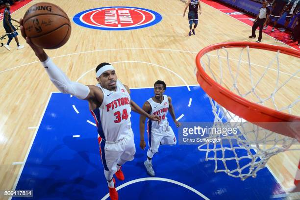 Tobias Harris of the Detroit Pistons drives to the basket against the Minnesota Timberwolves on October 25 2017 at Little Caesars Arena in Detroit...