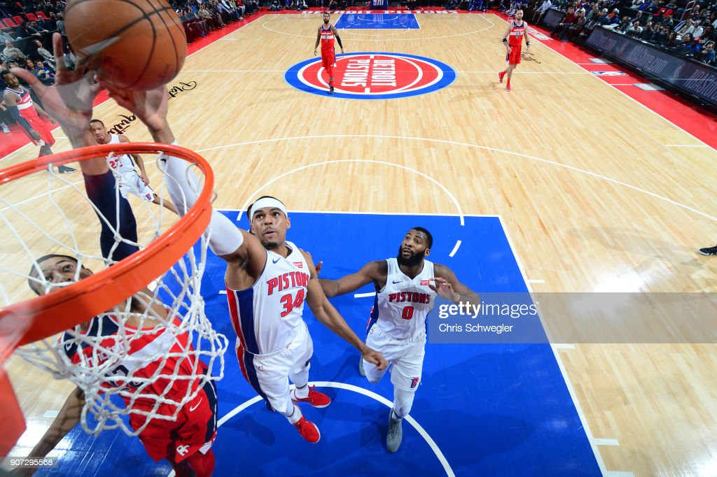 Tobias Harris #34 of the Detroit Pistons dunks against the Washington Wizards on January 19, 2018 at Little Caesars Arena in Detroit, Michigan.
