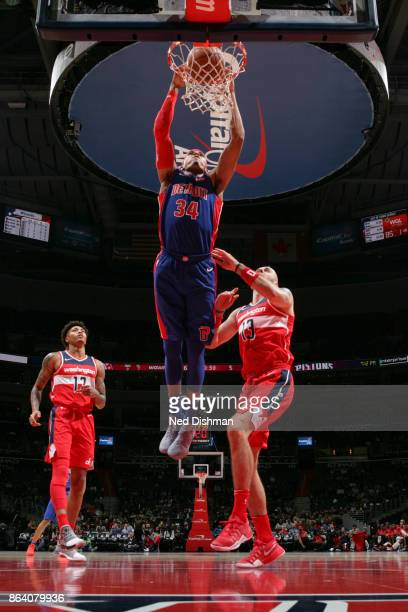Tobias Harris of the Detroit Pistons dunks the ball during game against the Washington Wizards on October 20 2017 at Capital One Arena in Washington...