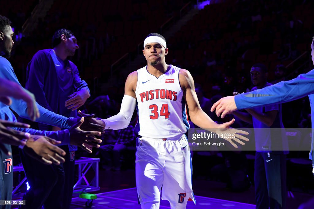 Tobias Harris #34 of the Detroit Pistons enters the court before the game against the Atlanta Hawks on October 6, 2017 at Little Caesars Arena in Detroit, Michigan.