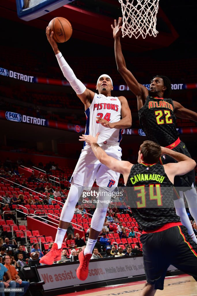 Tobias Harris #34 of the Detroit Pistons goes to the basket against the Atlanta Hawks on October 6, 2017 at Little Caesars Arena in Detroit, Michigan.