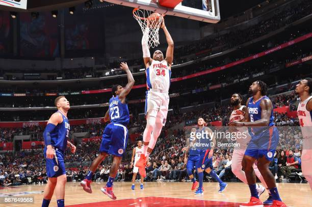 Tobias Harris of the Detroit Pistons goes up for a dunk against the LA Clippers on October 28 2017 at STAPLES Center in Los Angeles California NOTE...
