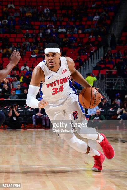 Tobias Harris of the Detroit Pistons handles the ball against the Indiana Pacers on November 8 2017 at Little Caesars Arena in Detroit Michigan NOTE...