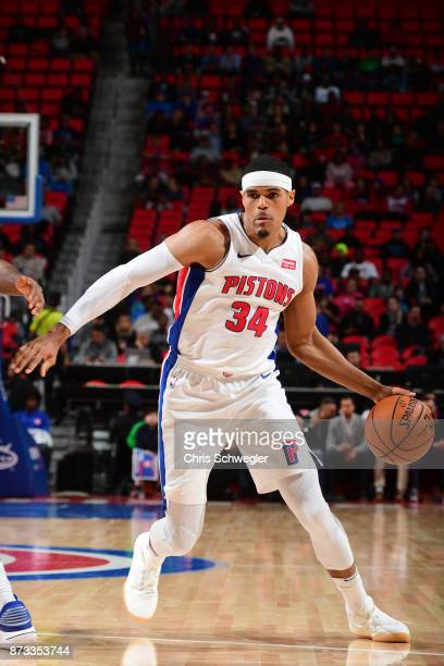 Tobias Harris of the Detroit Pistons handles the ball against the Miami Heat on November 12 2017 at Little Caesars Arena in Auburn Hills Michigan...