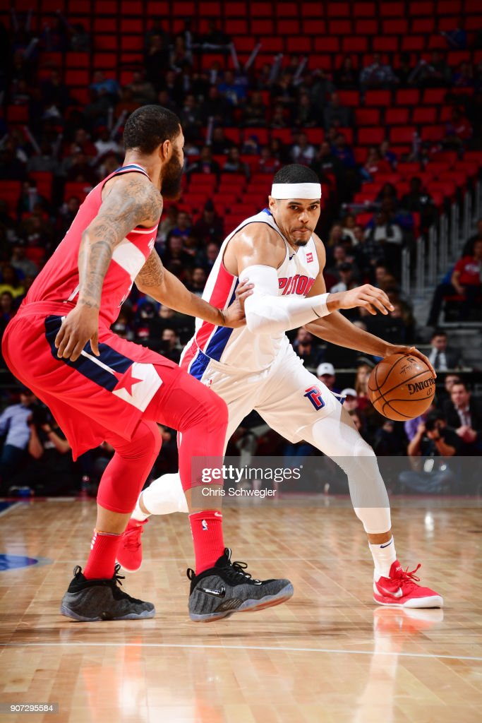 Tobias Harris #34 of the Detroit Pistons handles the ball against the Washington Wizards on January 19, 2018 at Little Caesars Arena in Detroit, Michigan.