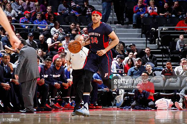 Tobias Harris of the Detroit Pistons handles the ball during the game against the Toronto Raptors on February 28 2016 at The Palace of Auburn Hills...