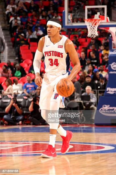 Tobias Harris of the Detroit Pistons handles the ball during the game against the Indiana Pacers on November 8 2017 at Little Caesars Arena in...