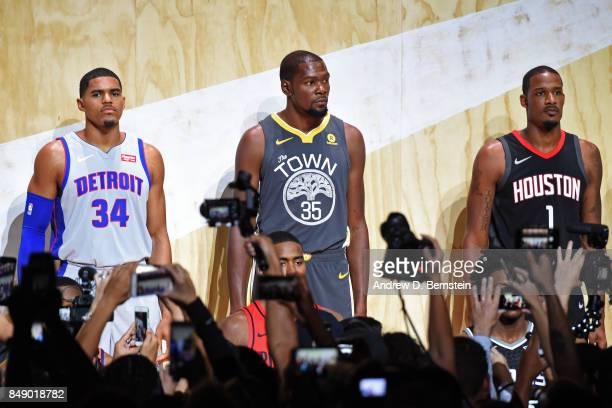 Tobias Harris of the Detroit Pistons Kevin Durant of the Golden State Warriors and Trevor Ariza of the Houston Rockets help unveil new uniforms...