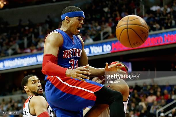 Tobias Harris of the Detroit Pistons looses the ball against the Washington Wizards in the first hlaf at Verizon Center on February 19 2016 in...