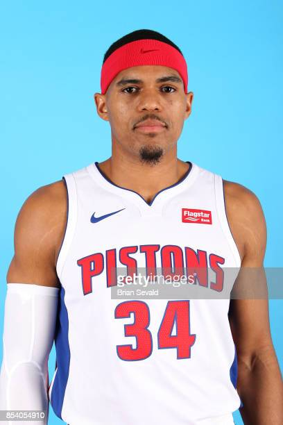Tobias Harris of the Detroit Pistons poses for a head shot during media day at Little Caesars Arena in Detroit Michigan on September 25 2017 NOTE TO...
