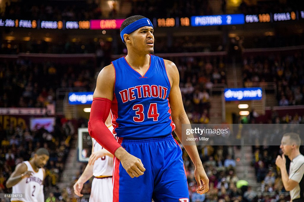 <a gi-track='captionPersonalityLinkClicked' href=/galleries/search?phrase=Tobias+Harris&family=editorial&specificpeople=6902922 ng-click='$event.stopPropagation()'>Tobias Harris</a> #34 of the Detroit Pistons reacts during the first half against the Cleveland Cavaliers at Quicken Loans Arena on February 22, 2016 in Cleveland, Ohio.