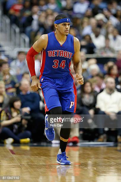Tobias Harris of the Detroit Pistons runs on the floor during the second half against the Washington Wizards at Verizon Center on February 19 2016 in...