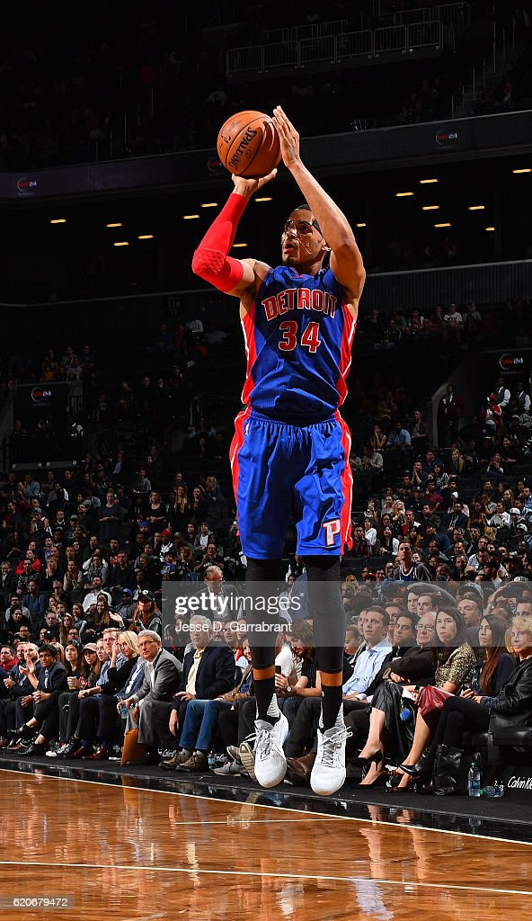 Tobias Harris #34 of the Detroit Pistons shoots the ball against the Brooklyn Nets on November 2,2016 at Barclays Center in Brooklyn, New York.