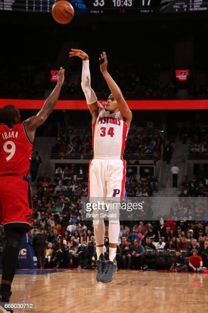 Tobias Harris of the Detroit Pistons shoots the ball against the Toronto Raptors on April 5 2017 at The Palace of Auburn Hills in Auburn Hills...