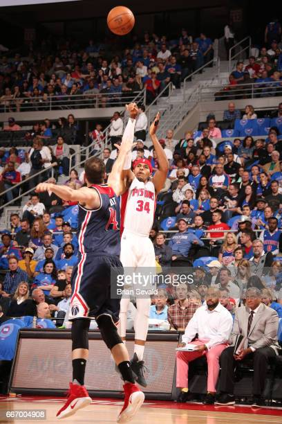 Tobias Harris of the Detroit Pistons shoots the ball against the Washington Wizards on April 10 2017 at The Palace of Auburn Hills in Auburn Hills...