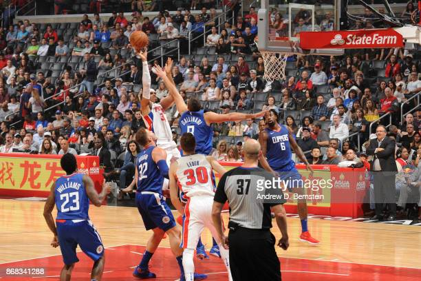 Tobias Harris of the Detroit Pistons shoots the ball against the LA Clippers on October 28 2017 at STAPLES Center in Los Angeles California NOTE TO...