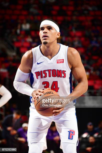 Tobias Harris of the Detroit Pistons shoots the ball against the Sacramento Kings on November 4 2017 at Little Caesars Arena in Detroit Michigan NOTE...