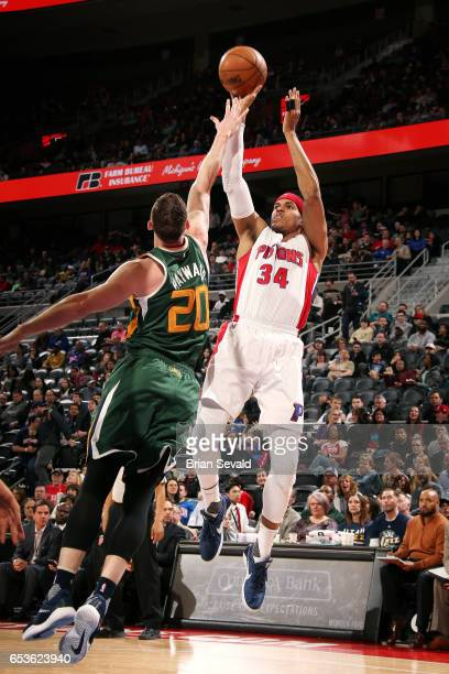 Tobias Harris of the Detroit Pistons shoots the ball during the game against the Utah Jazz on March 15 2017 at The Palace of Auburn Hills in Auburn...