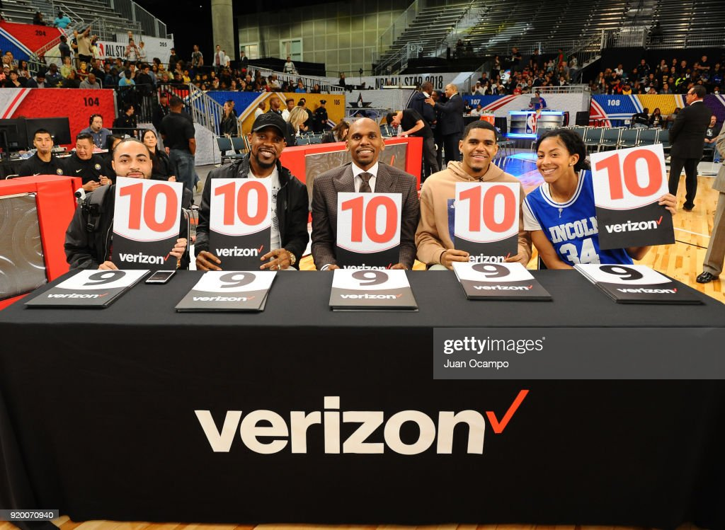 Tobias Harris of the Los Angeles Lakers, Former NBA player Jerry Stackhouse, and Candace Parker of the Los Angeles Sparks participate as judges during the 2018 NBA G-League Slam Dunk Contest as part of 2018 NBA All-Star Weekend on February 18, 2018 at Verizon Up Arena in the Los Angeles Convention Center in Los Angeles, California.