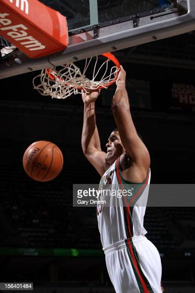 Tobias Harris of the Milwaukee Bucks dunks against the Indiana Pacers during the NBA game on November 14 2012 at the BMO Harris Bradley Center in...