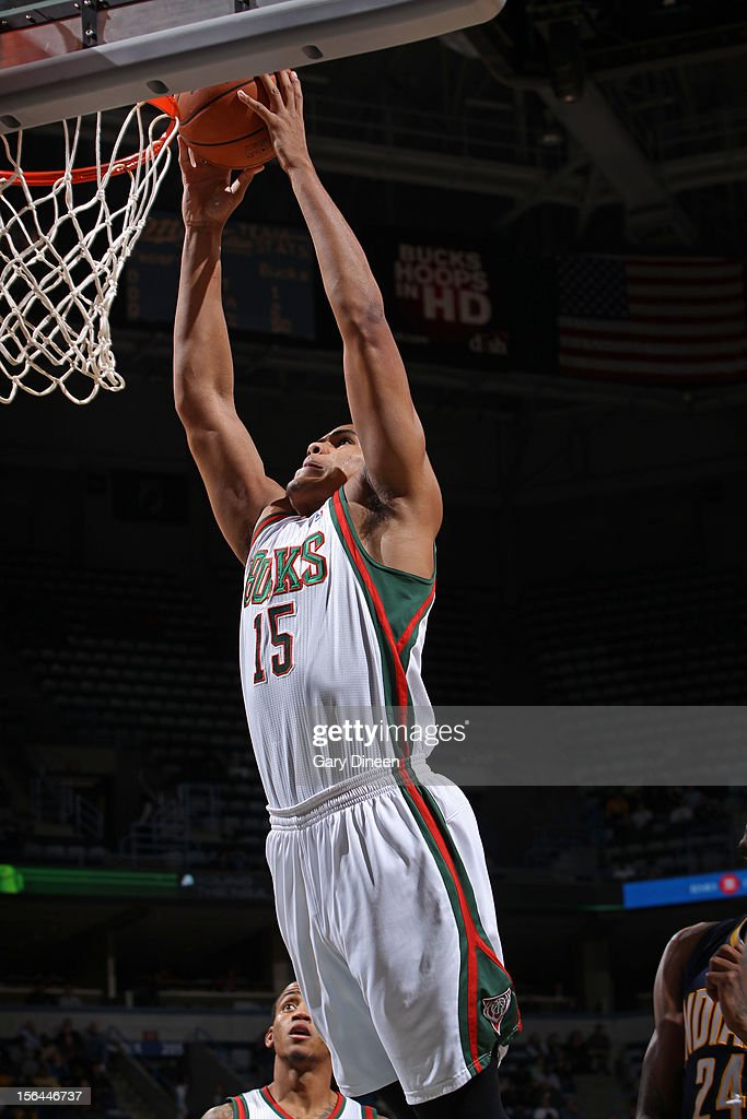 <a gi-track='captionPersonalityLinkClicked' href=/galleries/search?phrase=Tobias+Harris&family=editorial&specificpeople=6902922 ng-click='$event.stopPropagation()'>Tobias Harris</a> #15 of the Milwaukee Bucks dunks the ball against the Indiana Pacers on November 14, 2012 at the BMO Harris Bradley Center in Milwaukee, Wisconsin.