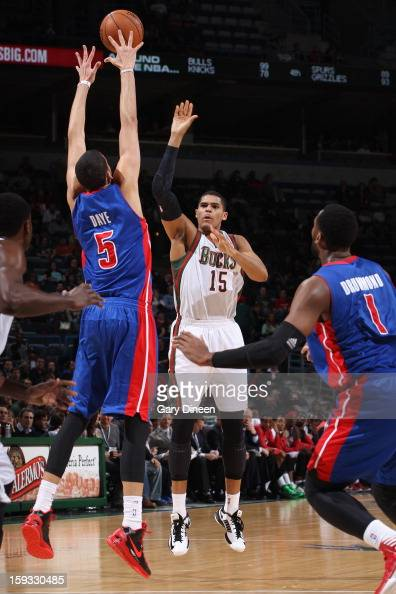 Tobias Harris of the Milwaukee Bucks shoots against Austin Daye of the Detroit Pistons on January 11 2013 at the BMO Harris Bradley Center in...