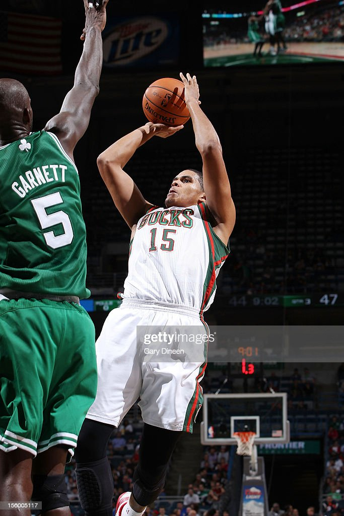 Tobias Harris #15 of the Milwaukee Bucks shoots against Kevin Garnett #5 of the Boston Celtics during the NBA game on November 10, 2012 at the BMO Harris Bradley Center in Milwaukee, Wisconsin.