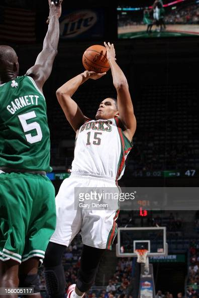 Tobias Harris of the Milwaukee Bucks shoots against Kevin Garnett of the Boston Celtics during the NBA game on November 10 2012 at the BMO Harris...