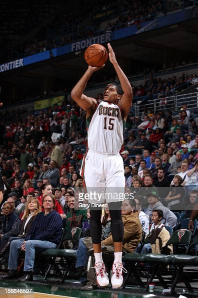 Tobias Harris of the Milwaukee Bucks shoots against the New Orleans Hornets during the NBA game on November 17 2012 at the BMO Harris Bradley Center...