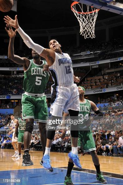 Tobias Harris of the Orlando Magic and Kevin Garnett of the Boston Celtics battle for the ball control during the game between the Boston Celtics and...