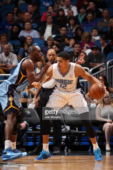 Tobias Harris of the Orlando Magic controls the ball against Quincy Pondexter of the Memphis Grizzlies on March 3 2013 at Amway Center in Orlando...