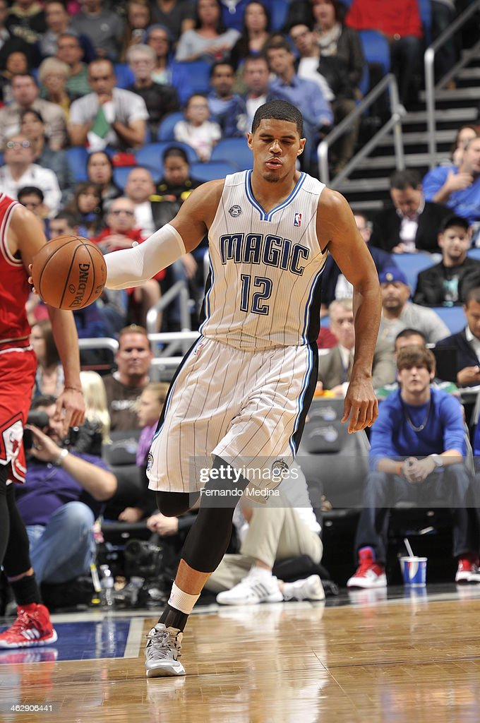Tobias Harris #12 of the Orlando Magic dribbles up the court against the Chicago Bulls Bulls during the game on January 15, 2014 at Amway Center in Orlando, Florida.