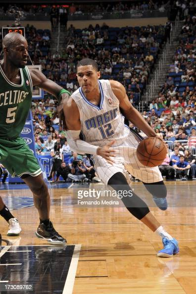 Tobias Harris of the Orlando Magic drives to the basket against Kevin Garnett of the Boston Celtics on April 13 2013 at Amway Center in Orlando...