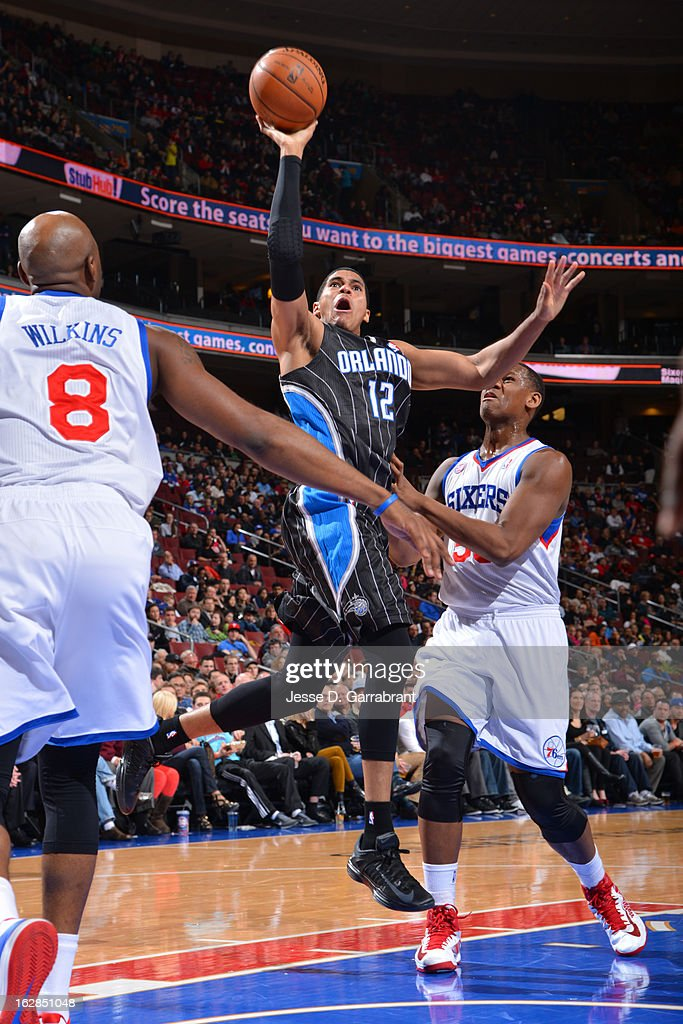 <a gi-track='captionPersonalityLinkClicked' href=/galleries/search?phrase=Tobias+Harris&family=editorial&specificpeople=6902922 ng-click='$event.stopPropagation()'>Tobias Harris</a> #12 of the Orlando Magic drives to the basket against the Philadelphia 76ers at the Wells Fargo Center on February 26, 2013 in Philadelphia, Pennsylvania.