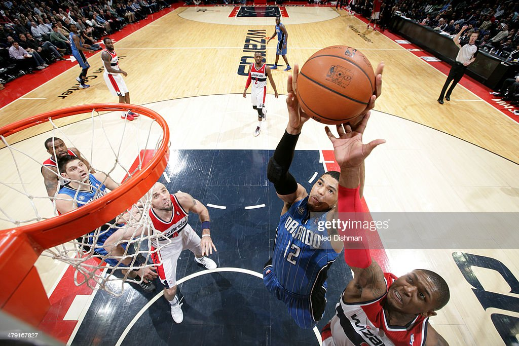 <a gi-track='captionPersonalityLinkClicked' href=/galleries/search?phrase=Tobias+Harris&family=editorial&specificpeople=6902922 ng-click='$event.stopPropagation()'>Tobias Harris</a> #12 of the Orlando Magic drives to the basket against the Washington Wizards during the game at the Verizon Center on February 25, 2014 in Washington, DC.