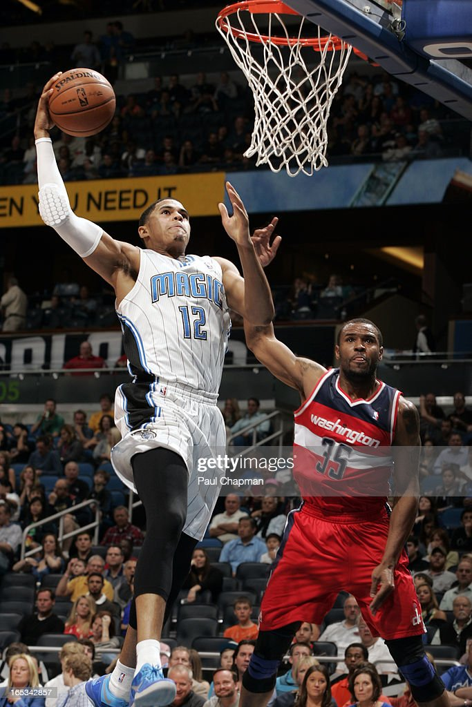 <a gi-track='captionPersonalityLinkClicked' href=/galleries/search?phrase=Tobias+Harris&family=editorial&specificpeople=6902922 ng-click='$event.stopPropagation()'>Tobias Harris</a> #12 of the Orlando Magic dunks the ball against the Washington Wizards on March 29, 2013 at Amway Center in Orlando, Florida.