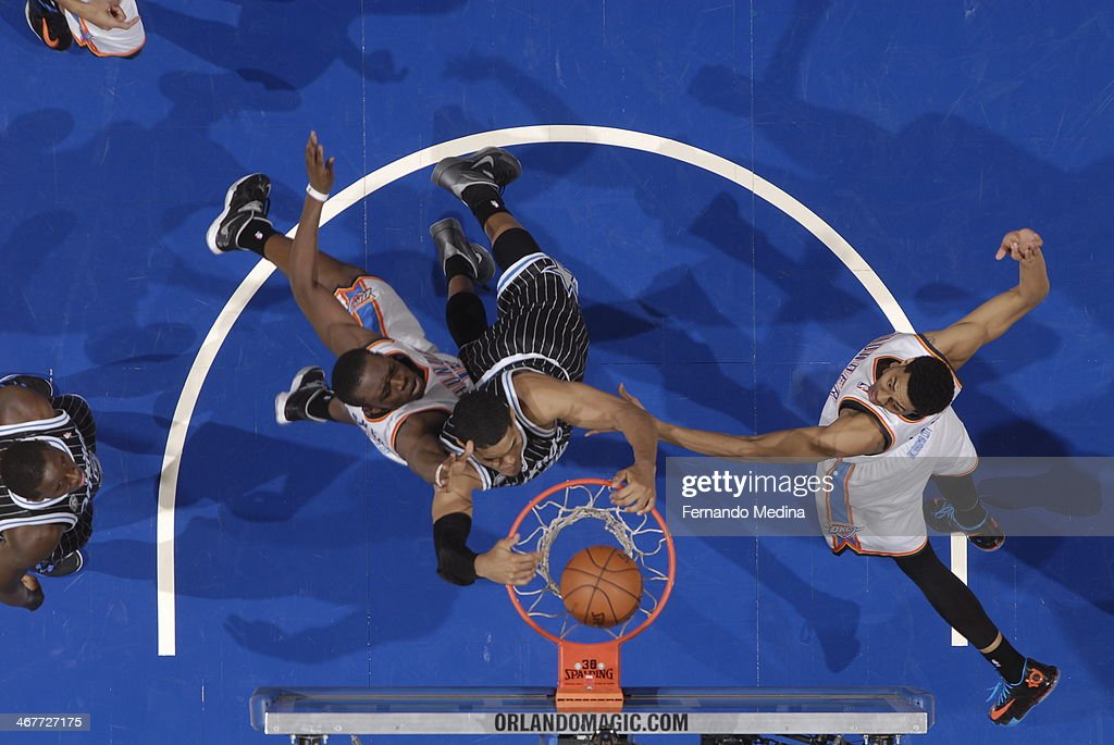 <a gi-track='captionPersonalityLinkClicked' href=/galleries/search?phrase=Tobias+Harris&family=editorial&specificpeople=6902922 ng-click='$event.stopPropagation()'>Tobias Harris</a> #12 of the Orlando Magic dunks the ball for the game winner, against the Oklahoma City Thunder during the game on February 7, 2014 at Amway Center in Orlando, Florida.